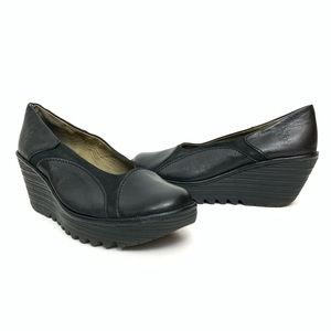Fly London Black Wedge Shoes Size 8